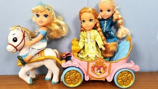 Playdate at Cinderella ! Elsa and Anna toddlers - horses - surprises - nail polish - painting
