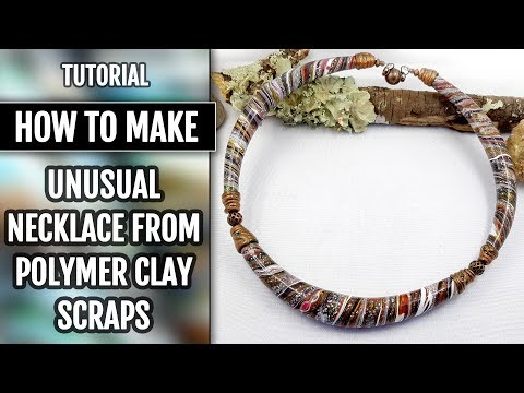 """DIY Unusual and Beautiful Necklace from Polymer Clay Scraps in """"Twisting&Squeezing"""" Technique!"""