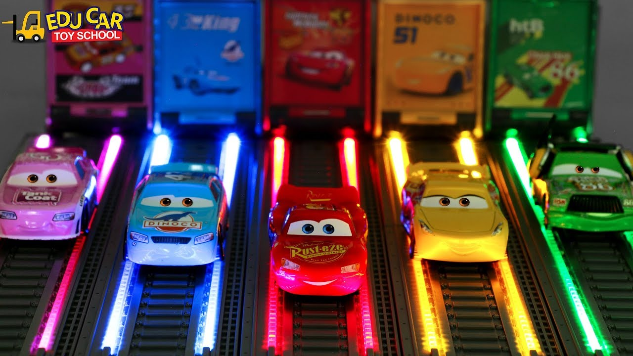 Learning Color Disney Cars Lightning McQueen Mack Truck LED Light load drive Play for kids car toys