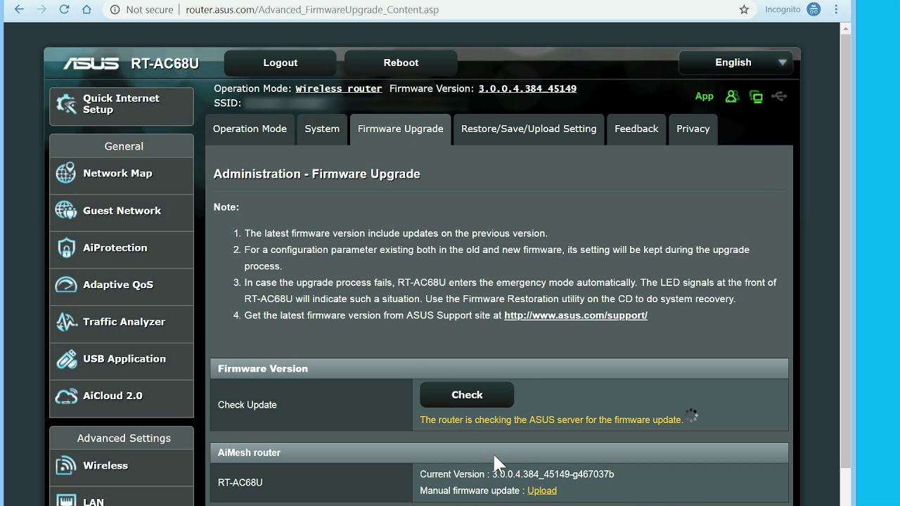 Update Firmware in ASUS Wireless Router