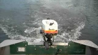 3hp Tanaka outboard boat motor running on Crestliner boat