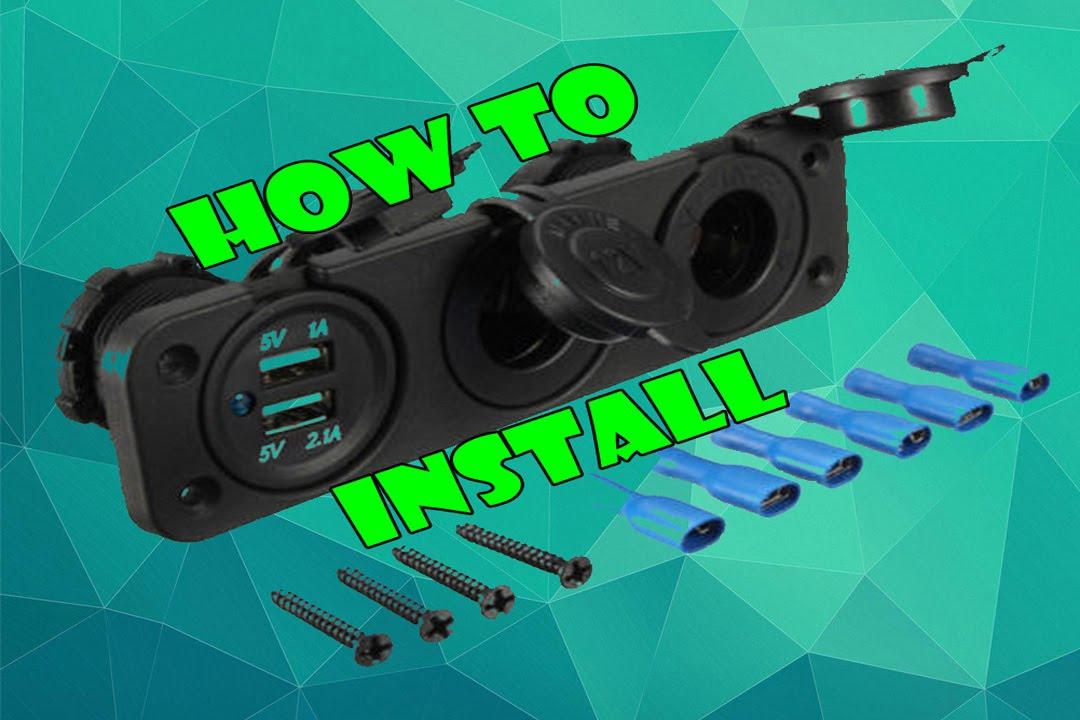 Install - Car 2 USB Port 2 Cigarette Socket Lighter Adapter - YouTube