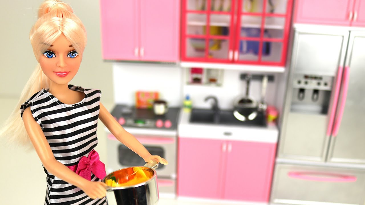Barbie Doll Pretend Play Kitchen Set Food Cooking Toy For Kids Fun Playtime Learning Youtube