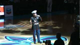Marine Gunnery Sergeant Alan Benoit Sings the National Anthem