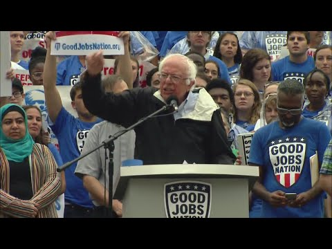 Bernie Sanders speaks in downtown Indy