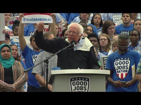 Bernie Sanders speaks in downtown Indy
