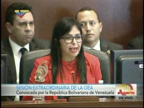 Delcy Rodríguez habla  por Venezuela ante Consejo Permanente de la OEA