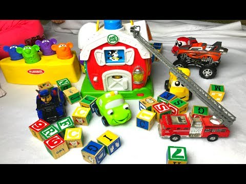 LEARN COLORS Play Doh Shopping Toys Monster Trucks FUN Children's Learning Activity!