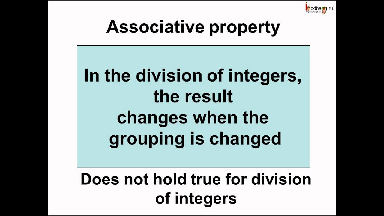 worksheet Working With The Properties Of Mathematics math integers associative property of division english youtube english