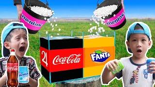 Thử Thách Làm Theo Video Triệu View TikTok   Coca cola vs Mentos   Gia Đình Baby Shark
