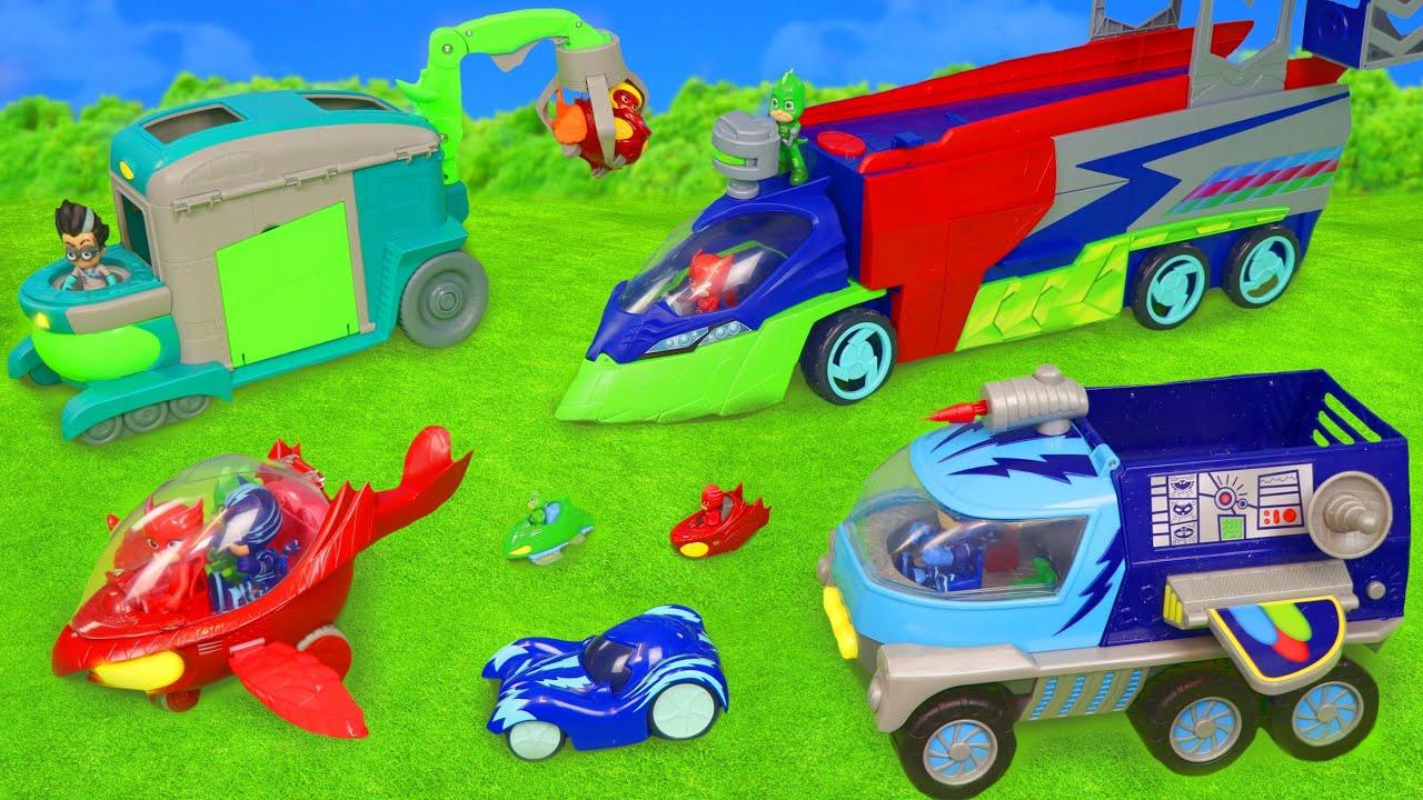 Brinquedos da PJ Masks - Menino Gato, Corujita e Lagartixo - Veículos de brinquedo para crianças
