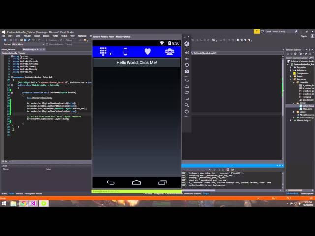 Xamarin Android Tutorial   26   Creating a Custom Action Bar