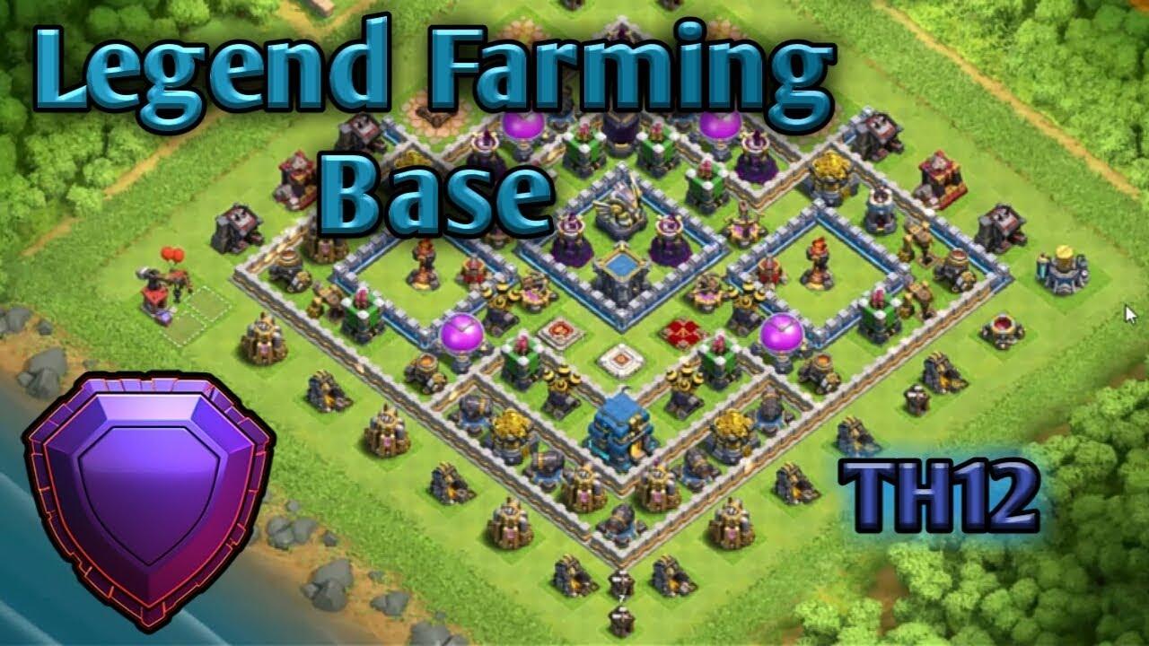 Th12 LEGEND league farming+pushing base layout 2018