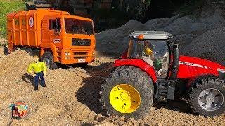 RC TRAKTOR RESCUE GARBAGE TRUCK MAN! BRUDER RC Tractor Massey Ferguson!