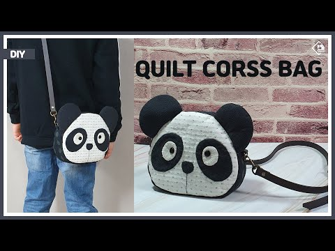 DIY/ QUILT/ PANDA CROSS BAG/ 판다모양의 귀여운 퀼트 크로스백 만들기/ MAKE A BAG/ sewing/ turorial [Tendersmile]