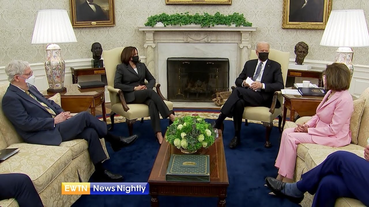 President Joe Biden Discusses 'Infrastructure Plan' With Congressional Leaders | EWTN News Nightly