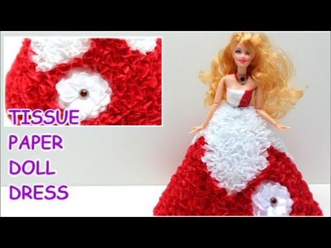 """Princess Doll Dress """"Red Fantasy"""" from Tissue Paper - Doll Dress Fun"""