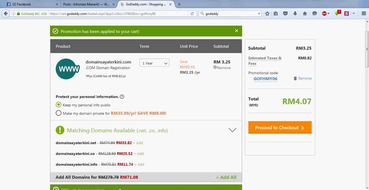 Cara Beli Domain com Murah Rm4 Di Godaddy - YouTube