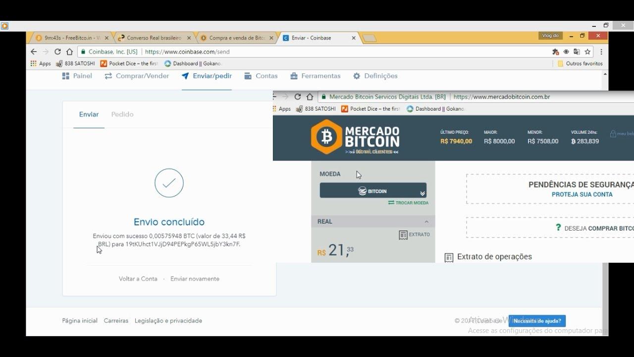 como transferir bitcoins para coinbase