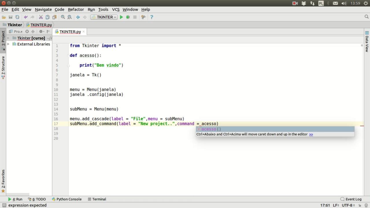 Python Módulo Tkinter Aula 06 #DROP DOWN Menu