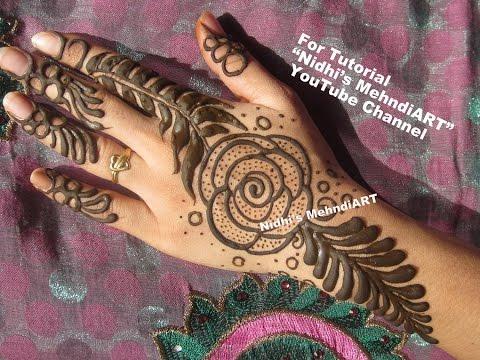 Flower Pattern Mehndi Designs : Best rose flower dubai gulf style henna mehndi design tutorial