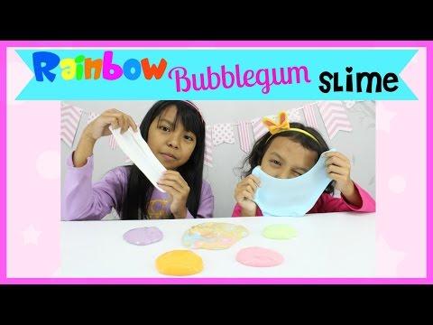 CARA MEMBUAT SLIME ♥ RAINBOW BUBBLEGUM SLIME .. Cantik Banget !!!