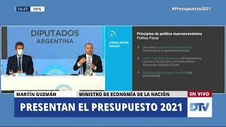 Martín Guzmán presenta el presupuesto 2021 en Diputados