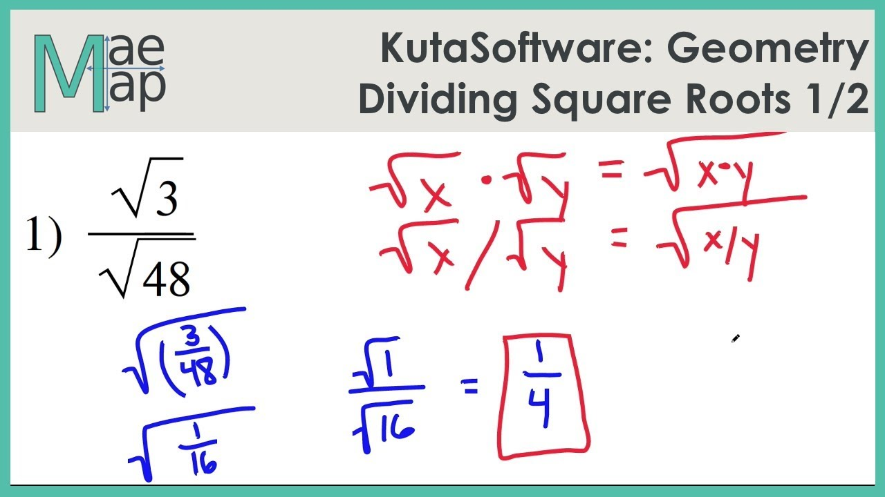 Kutasoftware Geometry Dividing Square Roots Part 1 Youtube