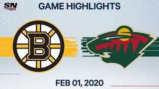 NHL Highlights   Boston Bruins vs. Minnesota Wild – Feb. 1, 2020
