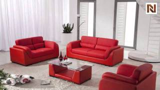 Red Bonded Leather Sofa Set With Coffee Table Vgdm2929r-bl