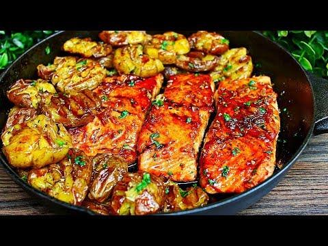 Skillet Honey Garlic Salmon And Smashed Potatoes Recipe - Easy Salmon And Potatoes