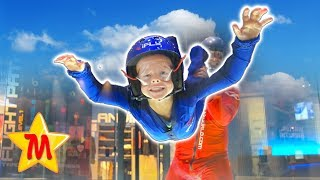 6 Year Old Boy Skidives For The First Time  Indoor Skydiving at iFLY Fun Kids Activity
