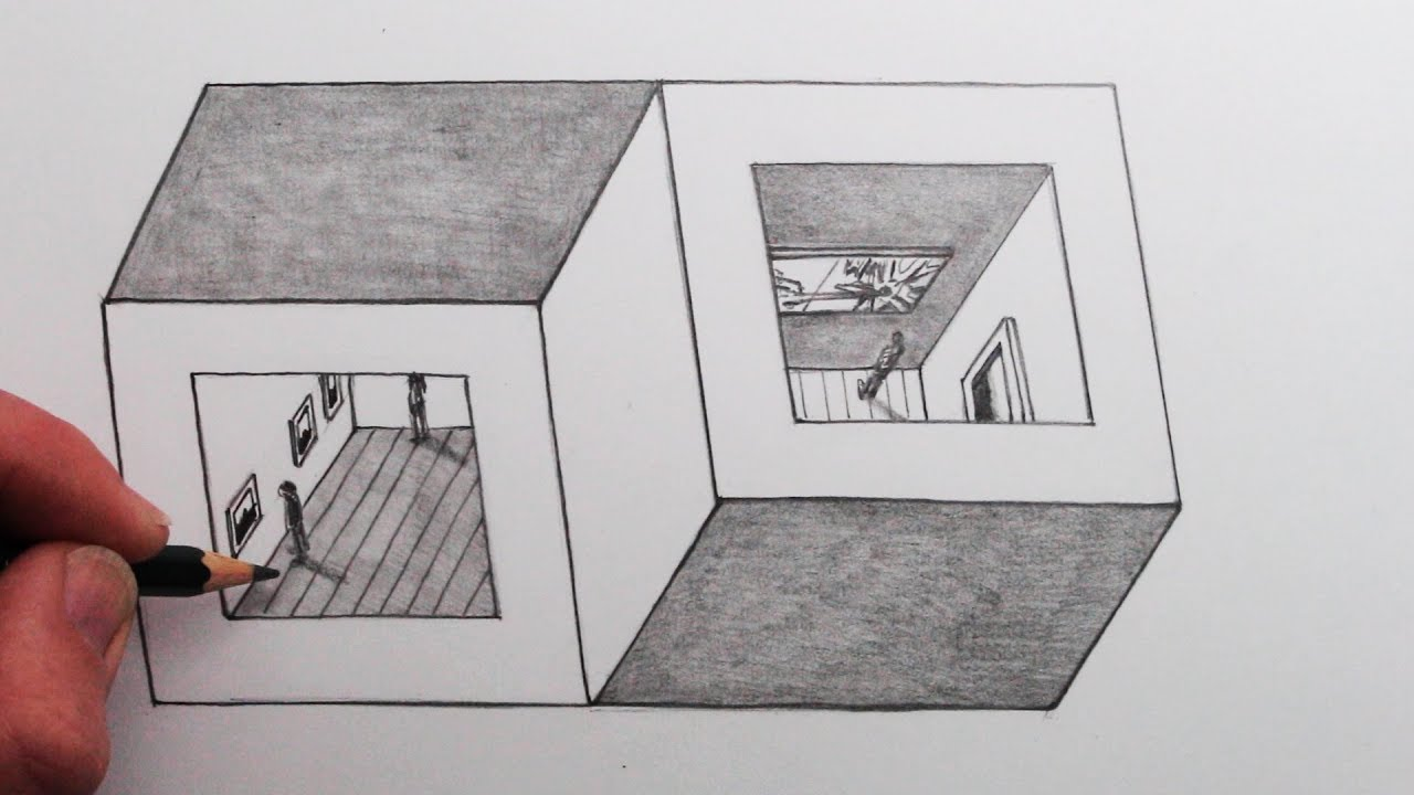 optical illusion draw cubes