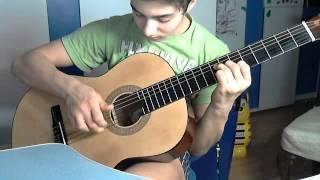 Видеоурок игры на гитаре.Неизвесная лунная соната Бетховена.Очень простая мелодия.