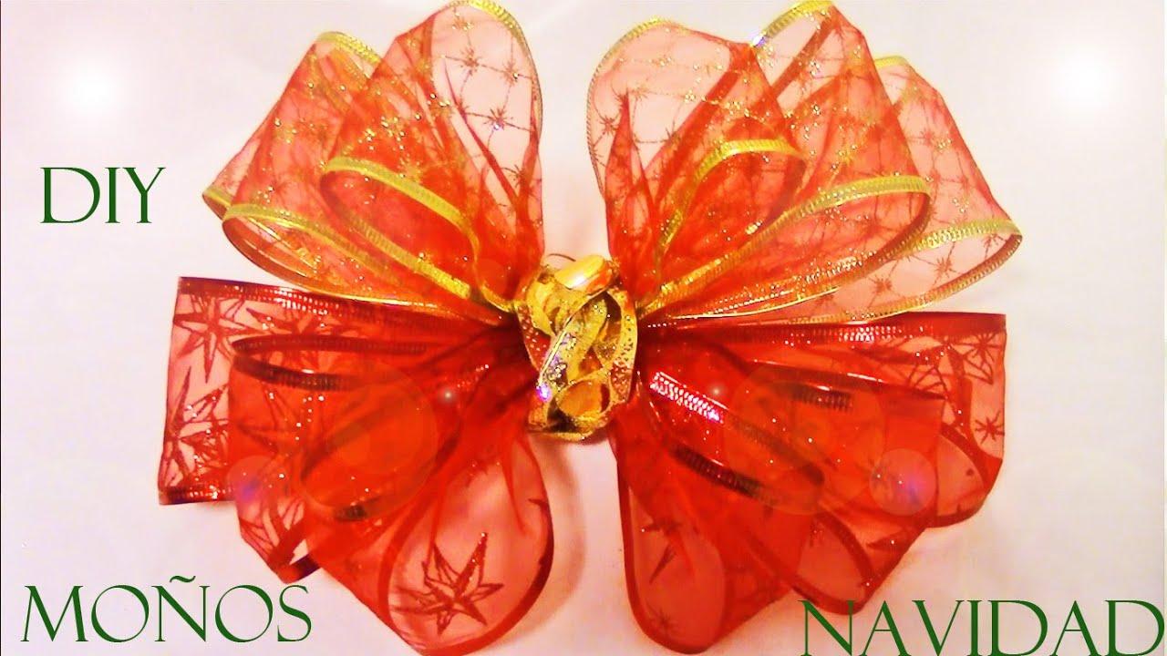 Diy como hacer mo os de navidad en cintas diy christmas - Lazos para arbol de navidad ...