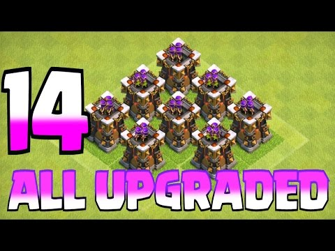 Clash Of Clans - UPGRADED ALL LVL 14 ARCHER TOWERS!!