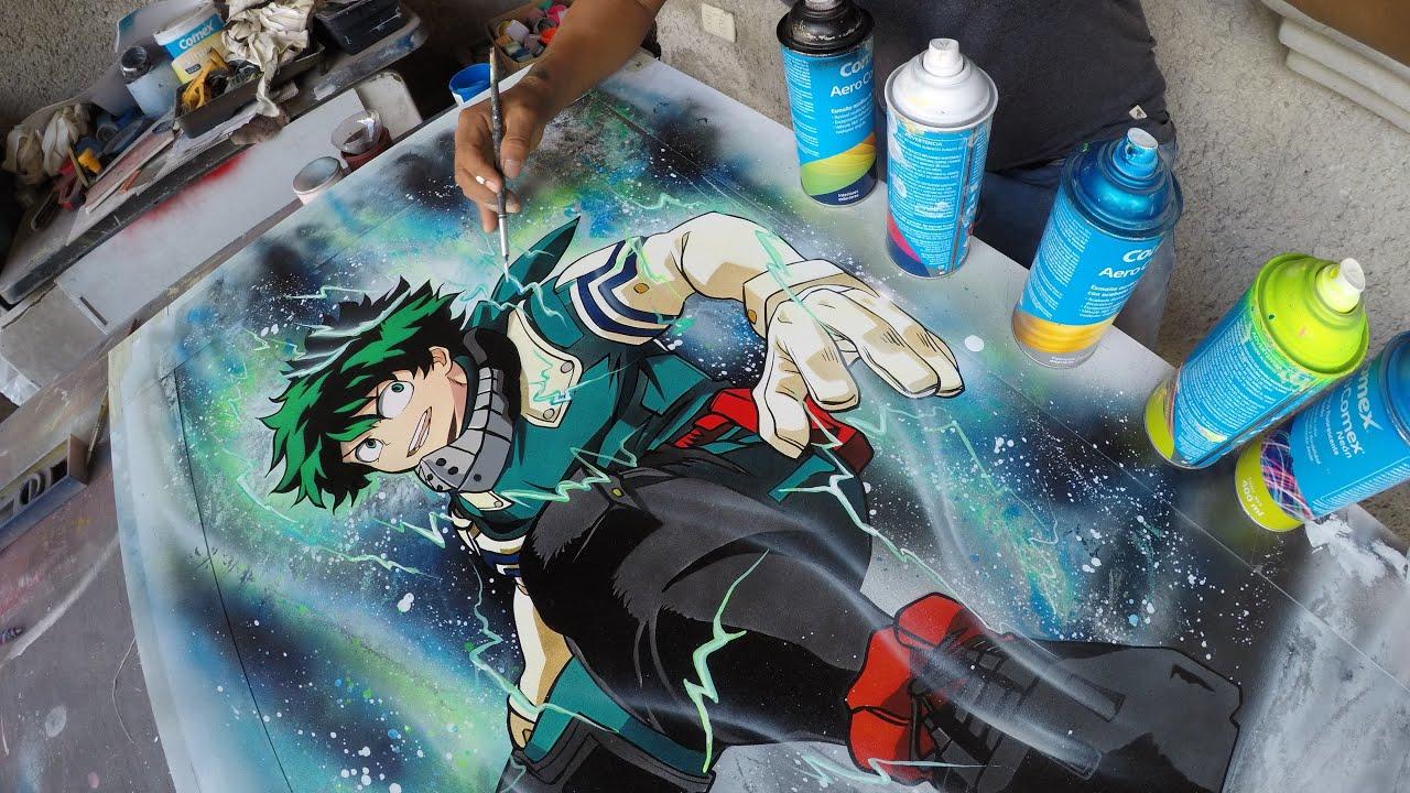 My hero academia Izuku spray paint art