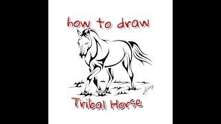 How to draw Tribal Horse - Tribal Tattoo Design Style - Art Maker Akshay
