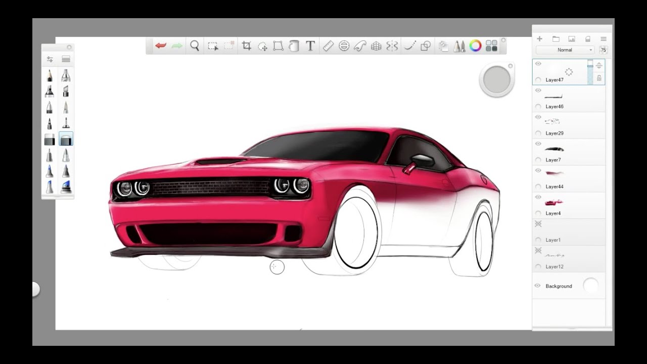 How to draw dodge challenger rt 2011 - Simple Automotive Sketch 2015 Srt Challenger Hellcat Part 2