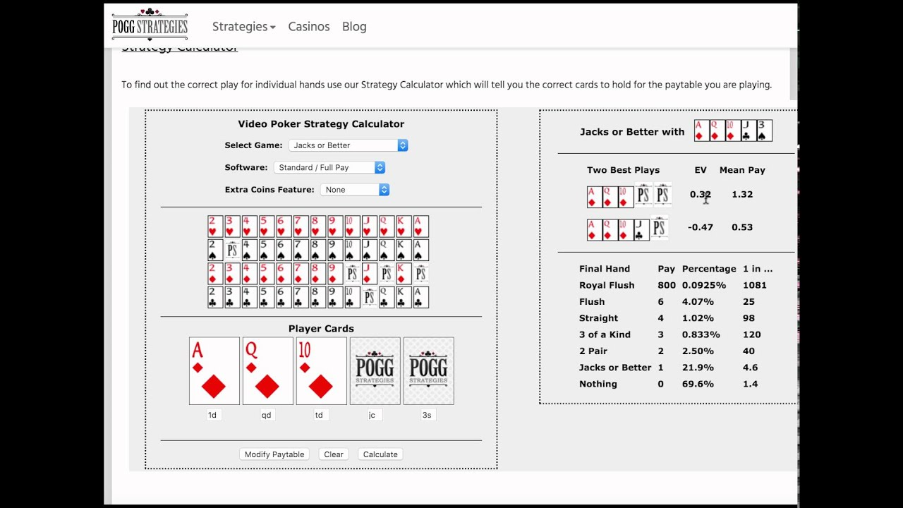 Jacks Or Better Video Poker Strategy Trainer
