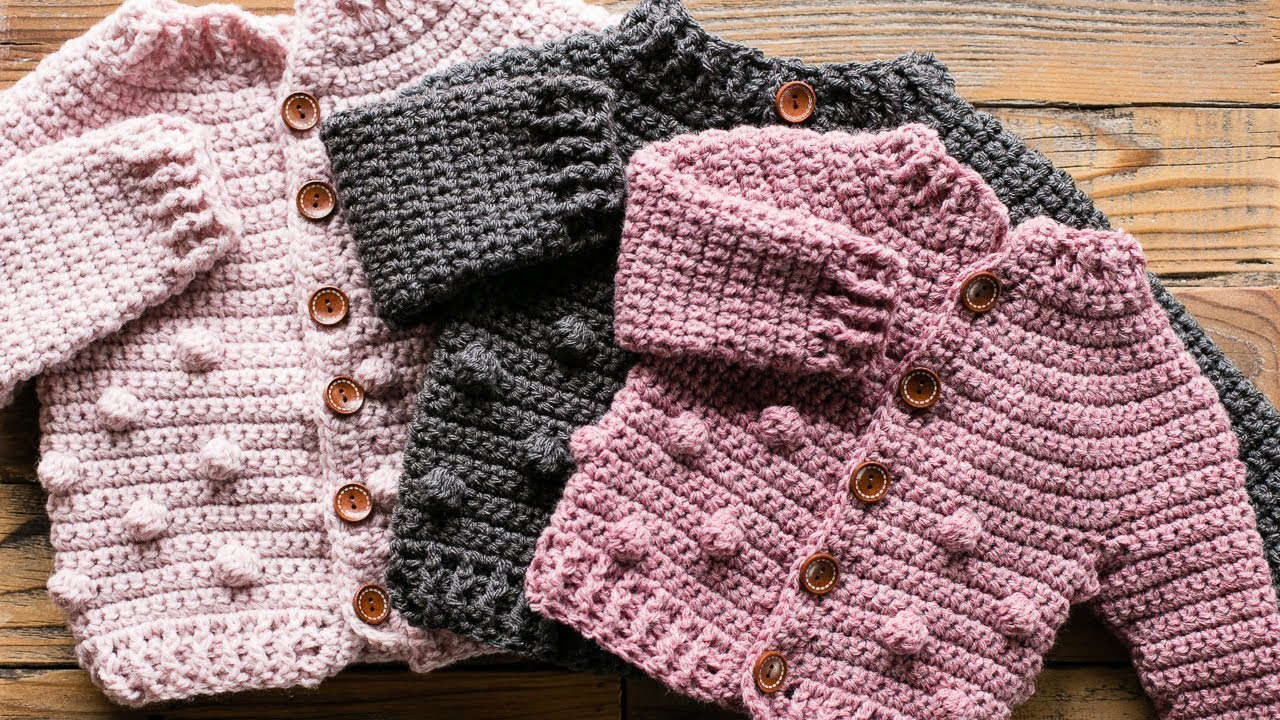 CP309 Crochet Cardigan Pattern Bobble Cardigan Pattern Bobble Pattern Baby Cardigan Pattern Crochet Pattern 3 Sizes