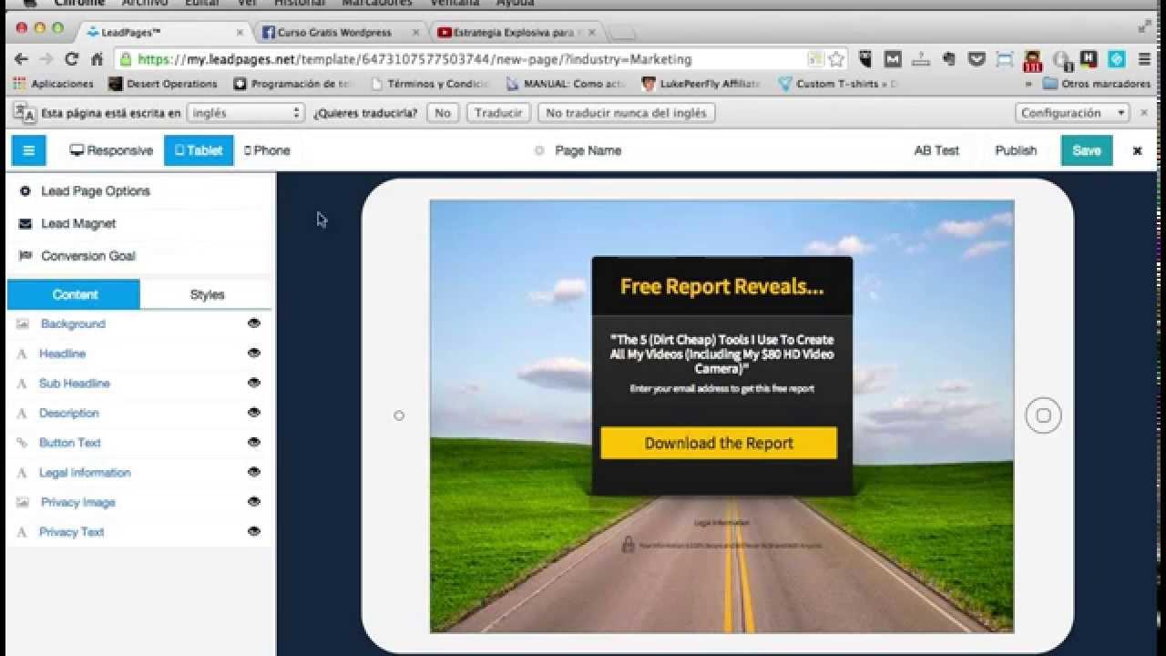 Cómo crear una Landing Page o Página de Aterrizaje con Leadpages ...
