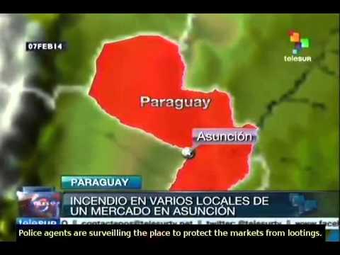 Fire breaks out in a market of Asunción, Paraguay