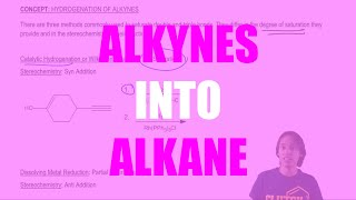Using Catalytic hydrogenation or Wilkinson's Catalyst to turn alkynes to alkanes
