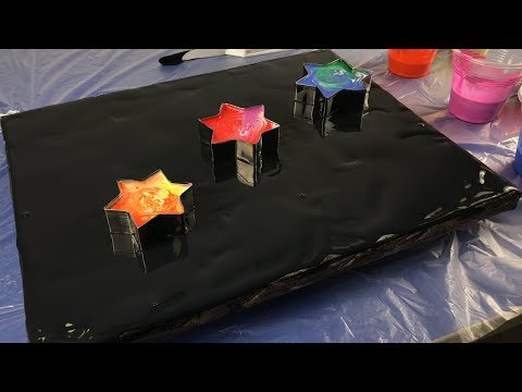 Acrylic Pouring With Star Cookie Cutters