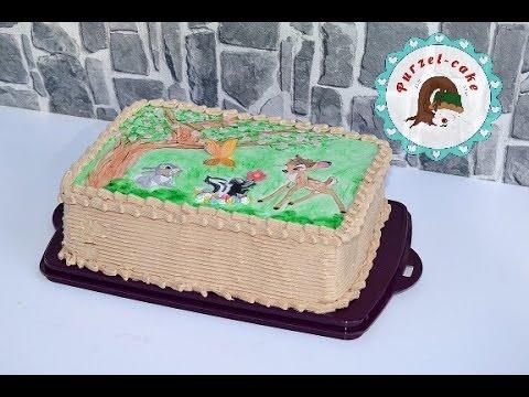 Bambi Torte Fondant Decke bemalen Tortenaufleger Motivtortenvon Purzelcake  YouTube