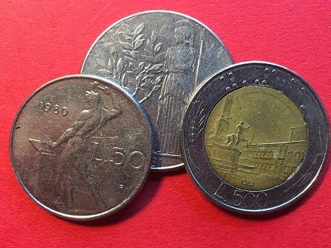 Italy 1980's Coins 50 Lire - 100 Lire - 500 Lire Bi-metallic Piazza Del Quirinale