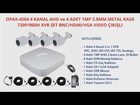 OPAX-4504 4 KANAL AHD ve 4 ADET 1MP 2.8MM METAL KASA 720P/960H XVR SET BNC/HDMI/VGA VIDEO ÇIKIŞLI