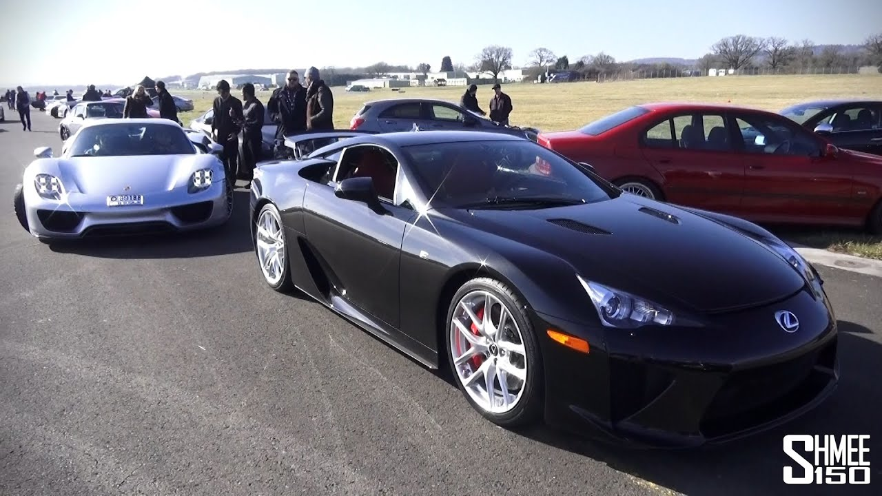 Drag Race: Lexus LFA Vs Porsche 918 Spyder At Vmax 200 Nine Eleven   YouTube