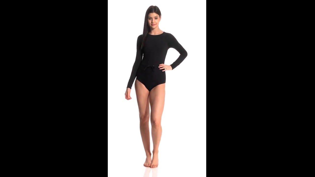 b8755292f0 Roxy Salty Casual Crochet Long Sleeve One Piece Swimsuit | SwimOutlet.com